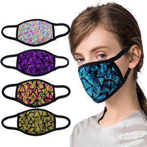 máscaras para adultos lentejuelas de Paillette de la cubierta de Bling boca máscara protectora a prueba de polvo al aire libre suave de algodón de las mujeres de la moda máscaras de ciclismo CYF4463
