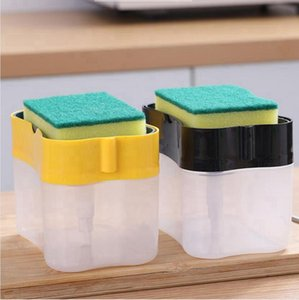Kitchen Detergent Storage Dispenser Box Sponge Soap Dish Accessories Liquid Pump Scouring Pad Cleaning Dishwashing Tool Seashipping LJJP458