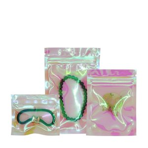 Hologram Foil Self Seal Zip Lock Sample Package Bags Gifts and Grocery Packaging Plastic Pouches Bags with Tear Notch