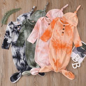 Neonato Swaddle Blanket Hat 2 Pz Wrap Ins Ins Bambino Cartoon Sleeping Sacchi fotografia Pop Tie Dye Bag a pelo per pelo M2635