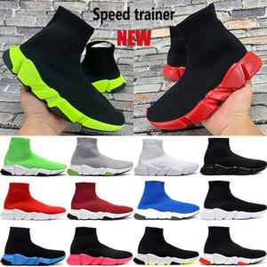 Nova chegada Paris velocidade Trainers casuais sapatos meia preta universidade verde vermelho triplos mulheres Sneakers esticar malha bege homens brancos plataforma