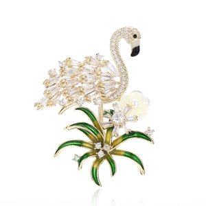 XIUMEIYIZU Newest Cubic zirconia micro paved flamingo brooch pin lady creative trendy dresssing brooches costume jewelry