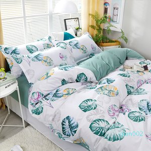 3 / 4pcs / set Banana Leaf impression Literie Inclure couette SheetsPillowcases Cover Set CONFORTABLE de lit