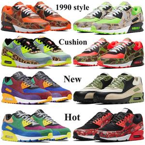 Novos 90 Homens Mulheres Running Shoes 1990 Sneakers estilo de almofada verde do camo de couro OG preto volts 2020 UNC Invicto Preto ótica Trainers amarelas