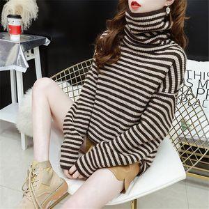 Suéteres hecha punto rayada Turtelneck Suéter Casual Otoño Invierno Tops manga larga para mujer del suéter de Elasticidad