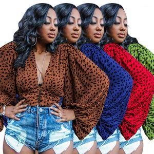 Мебельный Для женщин дизайнера Tshirt Весна Лето леопардового Dolman Рукав завернутых Топы Sexy V шеи Женщины