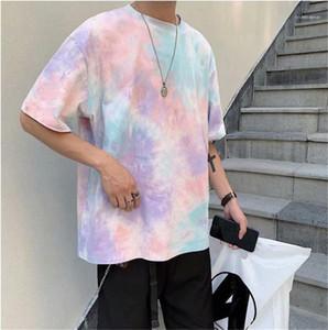 Contrast Color Short Sleeve Tshirt Mens Clothing Tee Shirts Homme Fashion Tie Dye Mens Tshirt Casual