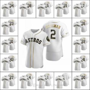 HoustonAstros Hommes 2 Alex Bregman 35 Justin Verlander 4 George Springer Femmes Youth Blanc Authentic Golden Edition Jersey sur mesure