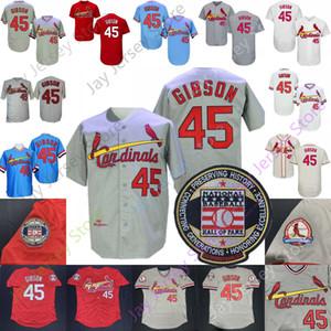 Bob Gibson Jersey 1967 Base-ball Salle Chanvre gris Of Fame Patch Bleu Blanc Rouge Crème Domicile Extérieur Vintage