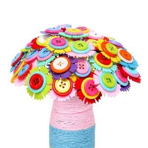 2020 Muticolor Flor Fazendo Craft Kit DIY Botão Bouquet Gift Set Rapazes Raparigas Idade 4-9 anos Artificial Decoração Handmade Party Supplies