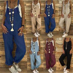 Verão New fresco Casual Calças macacãozinho Mulheres Plus Size macacãozinho Fashion Trend mangas soltas Sling Jumpsuit Designer Feminino