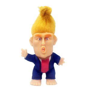 "Presidente Trump Troll 2,36 \"" Standing Boneca w / Hair Desk decorativa Collectible Troll boneca Set"