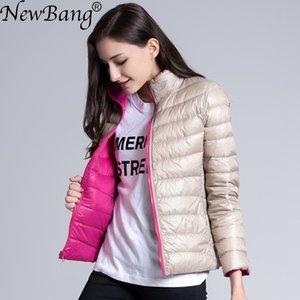 NewBang 브랜드 다운 자켓 여성 울트라 라이트 다운 재킷 여성 깃털 양면 윈드 리버 서블 경량 코트 공원 T200831