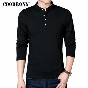 COODRONY Hombres camiseta 2020 del otoño del resorte del nuevo del algodón hombres de la camiseta de cuello sólido de color Estilo Chino Mandarín Top de manga larga T-608