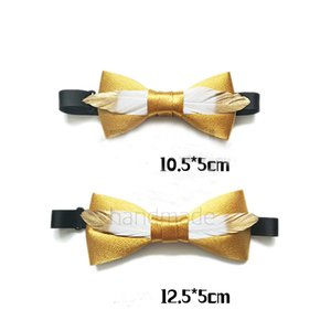 Free shipping new fashion casual men's male Original hand made adult golden feather child bow tie prince wind noble temperament