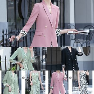 mcU89 Chiffon saia saia celebridade Suspender vestido de terno Internet terno fino das mulheres + impresso vestido Daisy coat suspender