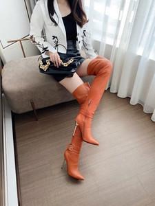 المرأة مشبك سستة الكعب العالي على الأحذية في الركبة والجلود خنجر اللباس أحذية كعب الأحذية طرف النساء