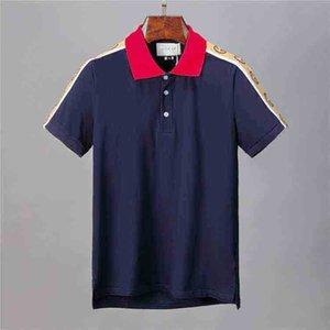 Homens polo Bermuda 20nm Europeia hip-hop impressão da camisa nova em torno do pescoço dos homens do algodão bordado polo de manga curta polo verão