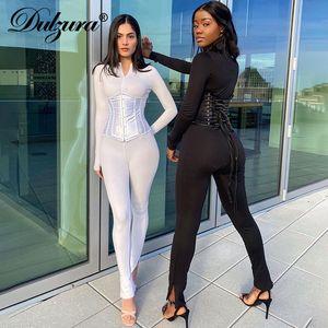 Dulzura katı tulum 2 adet uzun kollu fermuar BODYCON seksi streetwear eşleşen 2020 sonbahar kış kıyafeti romper ayarlamak korse