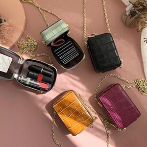 RAZALY cuero auténtico WOC monederos y los bolsos del bolso pequeño colgajo tarjeta Mini Con Espejo mujeres bolsos de cadena de embrague EBUC #