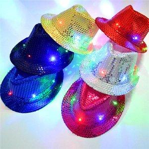 LED del partido coloridos sombreros de vaquero Jazz Lentejuelas gorras Casquillo que destella hijos adultos unisex Festival Coseplay traje Sombreros regalos 6 colores WX-C19