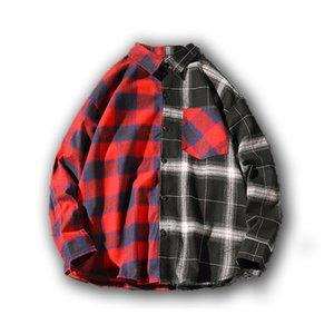 Loldeal empalme camisas de tela escocesa de los hombres a cuadros camisa de botón nuevo de la manera de Down de manga larga Camisas ocasionales más el tamaño de la gota de envío