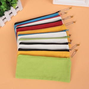 Blank Canvas Zipper Pencil Bags Solid Pencil Cases Pen Pouch Stationery Case Clutch Bag Organizer Bag Storage Bags SN4642