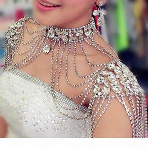 Collier épaule vintage mariée chaîne strass Collier à boucle d'oreille de soirée de mariage Body épaule chaîne Bijoux Cristal 2017