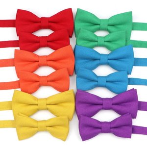 Cute Solid Colorful Parent-Child Cotton Bow Tie Sets Lovely Kids Pet Men Butterfly Blue Red Green Casual Family Bowtie Accessory
