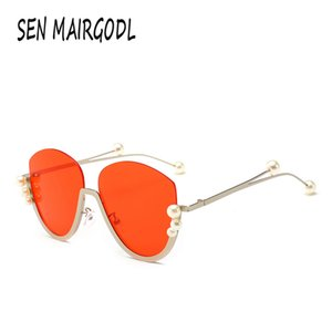 Lüks kakma inci yarım çerçeve 2020 Vahşi kare, oval tasarımı Moda Retro kişilik güneş camı gözlük kadınlar erkekleri güneş gözlüğü