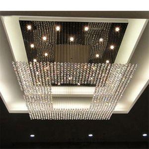 새로운 디자인 크리스탈 펜던트 램프 조명기구는 L150 * W150CM 조명 큰 현대 크리스탈 샹들리에 호텔 로비 주도 샹들리에 조명
