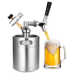 2L bière en acier inoxydable Mini Portable Keg Tap Pressurized Accueil Craft Beer Beer Brewing Distributeur système Growler