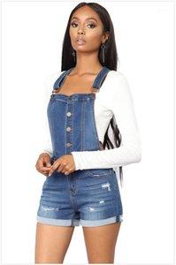Womens Designer Macacões Strap Laminados Womens Verão Shorts Magro Washed Jeans Classic Blue Fichas Completas