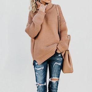 Gaoke Femmes Rétro col roulé en tricot long overs Automne Hiver Casual vrac solide gros pulls à tricoter Jumper Pull