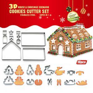 3D Christmas Cookie Cutters Weihnachtsbackformen Edelstahl-Lebkuchen-Haus-Party Bakeware Mold EWC981