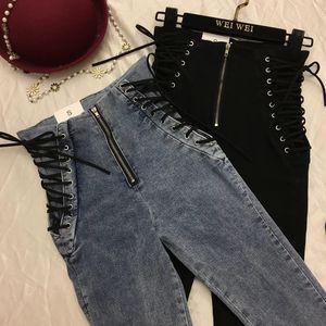 pontallon Schnürung Reißverschluss Jeans dünne schwarze graue Jeans Frau sexy High Waist Frauen Denim-Hosen 5xl Plus Size Hose CX200821