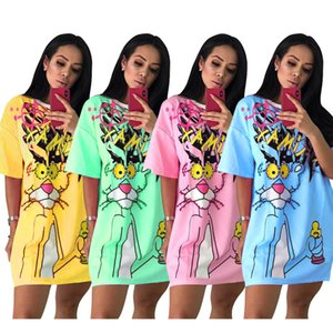 2020 vestidos de las nuevas mujeres del vestido de la perla de animal ocasional decorativo impreso camiseta del estilo del verano de la falda S-XXL