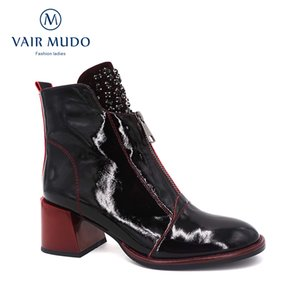 VAIR MUDO Autumn Winter Women Ankle Boots Thick Heel Patent leather Black Temperament Shoes Ladies High Quality Boots DX125 CX200820