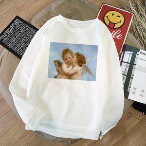 Harajuku Kawaii Angel cute Printed Women Sweatshirts Warm Long Short Sleeved O neck casual Clothing Vogue Tumblr girl sweet Tops