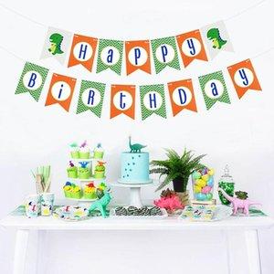 Bannière 1 papier Dinosaur Décor Bunting Dino vert Backdrop Birthday Party enfants pour Happy Décorations Garland Dragon MFMqR yh_pack
