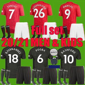 Kit homme enfant 2020 2021 SANCHO BRUNO FERNANDES Manchester United Soccer Jersey 20 21 Rashford Maillot de football Utd uniformes Kids Set adulte