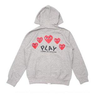 Модный бренд ВОСПРОИЗВЕДЕНИЕ Красное сердце за несколько сердца мужчин и женщин случайные молнии Толстовка на молнии свитер zipperhoodie серый свитер пара BCVrG