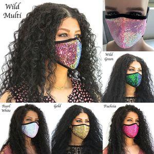 Glitter farbige Fashion Gesichtsmasken blenden Pailletten Maske Sonnenschutz Baumwolle Gesichtsmasken PM2.5 dünnen atmungs bunten Designer Gesichtsmasken