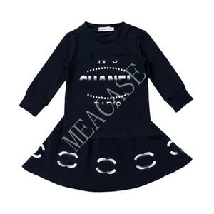 Los niños del chándal INS impresión de la letra de manga larga Tops suéter falda corta dos equipos Pieces 2020 otoño vestido de niña de bebé del invierno D81013 Traje