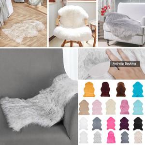 Pele do falso da pele de carneiro Fur tapetes de área Fluffy Mats Sofá Chair Cushion Sala Quarto Blanket Anti-Skid Tapete 40x60cm 60x90cm