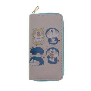 새로운 5PU 긴 5PU 긴 지퍼 지갑 도라에몽 지갑 인쇄 이우시 지퍼 이우시 새로운 도라에몽 인쇄