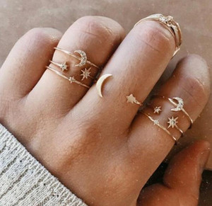 Мода 7шт / комплект Наборы Boho Стиль кольца для женщин обручальное кольцо Циркон Кристалл Finger Rings партия подарков Vintage Позолоченные Moon Star Ring