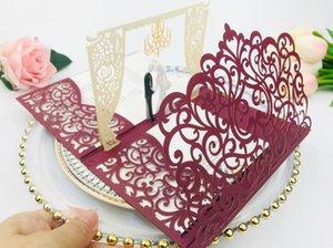 Frete grátis 1x 3D UP Cartão Burgundy Fold convite bolso casamento laser cartão convites corte do casamento Convide Saudação