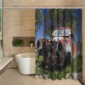 Vintage Car Odorless Waterproof Shower Curtain Old Car Trees Greenery in The Famous Route 66 Road in USA Rustic Home Art Large