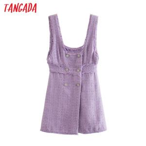 Tangada 2020 Automne Winter Femmes Élégant Violet Tweed Robe Sans Manches Bureau Dames Mini Robe 3H709
